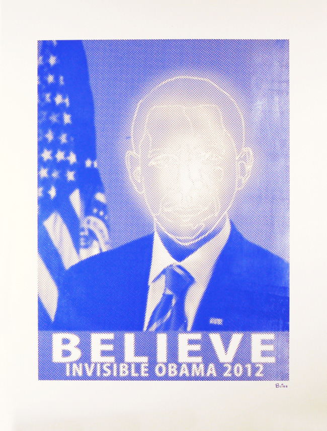 Invisible Obama - screenprint by BLISS