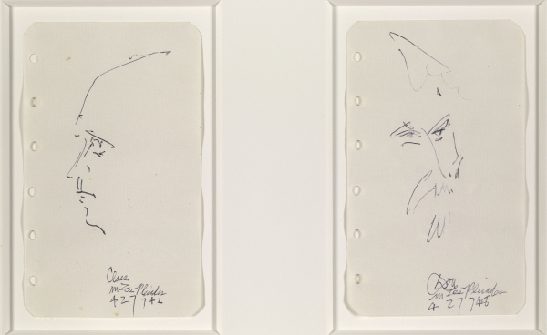 Dan Flavin - Don Judd, an American artist; Claes Oldenburg, an American artist [2 drawings] - 1974 (?)