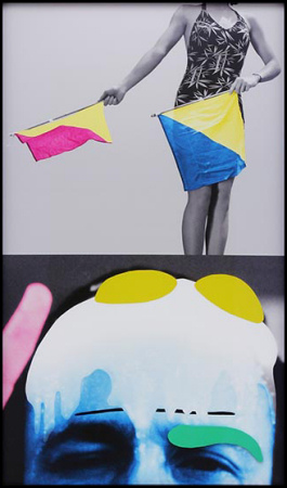 John Baldessari - Raised Eyebrows / Furrowed Foreheads: Woman (with Semaphore Flags) - 2009