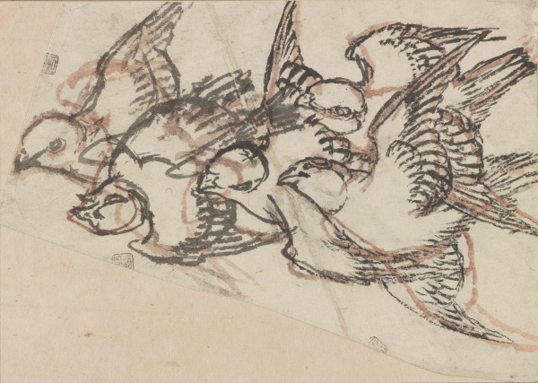Katsushika Hokusai (1760-1849) - Sparrows in Flight
