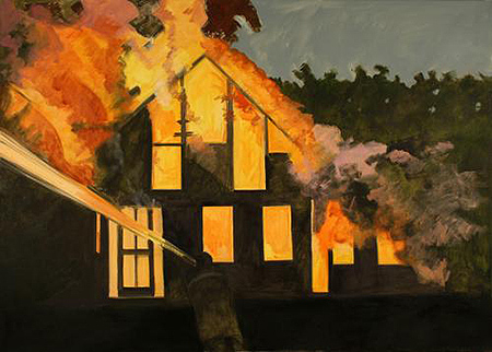 Lois Dodd - Burning House, Night, with Fireman - 2007