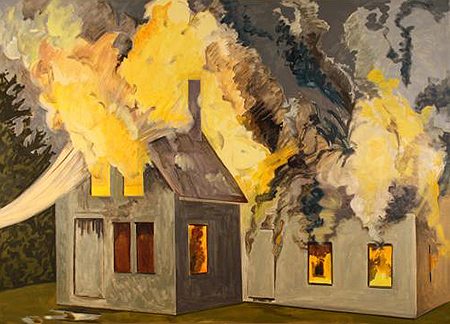 Lois Dodd - Burning House, Yellow Smoke - 2007