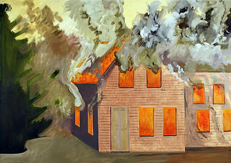 Lois Dodd - Burning House with Clapboards - 2007
