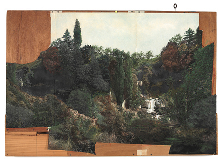 Marcel Duchamp - Landscape collage on plywood (study for landscape backdrop of Étant donnés - 1959