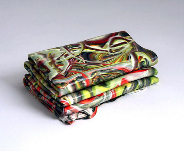 Margie Livingston - Small Folded Painting in Yellow, Green, and Neutral Red - 2010